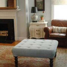Coffee Table turned Upholstered Ottoman DIY {Coffee & Side Tables}