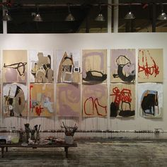 Anna Schuleit Haber, late May studio, all unfinished