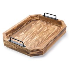 MyGift Rustic Burnt Wood Serving Tray with Metal Handles Wooden Serving Trays, Serving Dishes, Wood Barn Door, Breakfast In Bed, Wood Tray, Contemporary Decor, Wood Burning, Burnt Wood, Rustic Wood