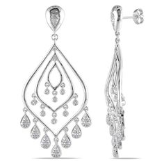 Miadora Sterling Silver 1/3ct TDW Diamond Chandelier Earrings (H-I, I2-I3)