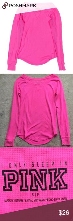 PINK Victoria's Secret waffle knit thermal Henley Perfect condition Henley tee! Doesn't have to be for pj's! 14.5 inch bust and 23 inch length. No trades. D3 PINK Victoria's Secret Tops Tees - Long Sleeve