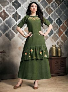 Look Pretty In This Beautiful Designer Readymade Gown In Dark Green Color Fabricated On Khadi Slub. It Is Available In All Regular Sizes Beautified With Embroidery Over The Yoke. Buy this beautiful designer kurti from Designer Evening Gowns, Designer Party Wear Dresses, Kurti Designs Party Wear, Kurta Designs, Designer Gowns, Designer Kurtis, Indian Party Wear Gowns, New Dress Design Indian, Western Dresses Online