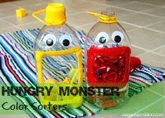 """Create simple color sorting """"monsters"""" from upcyled apple juice bottles, felt, and google eyes."""