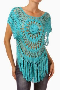 Crochet top with fringe Hairpin Lace Crochet, Crochet Diy, Hairpin Lace Patterns, Beau Crochet, Pull Crochet, Crochet Tunic, Crochet Woman, Crochet For Kids, Crochet Clothes