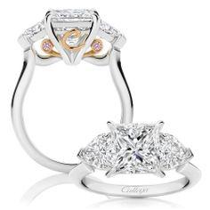 Elektra - A beautiful 2.71ct Princess Cut Diamond, paired with scintillating Harp Cut Diamonds, creates a heavenly symphony of brilliance.   www.calleija.com.au/white-diamond-collection-rings/~r1656-elektra