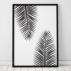 Black and White Tropical Leaf INSTANT DOWNLOAD Art Printable