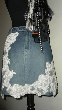 Vintage Repurposed Jean Skirt with Bridal Lace by LuPearlsTreasure, $37.00
