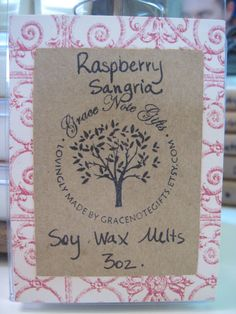 ON SALE to make room for more seasonal scents! Raspberry Sangria Soy Wax Tarts RASPBERRY by gracenotegifts, $3.00