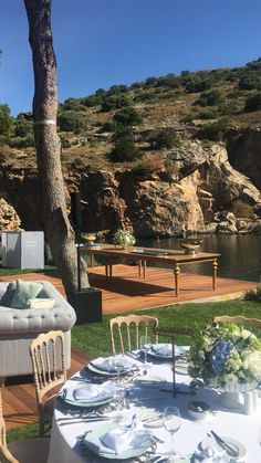 Another amazing setup by the Lake! Greece Wedding, Wedding Dj, Elegant Wedding, Destination Wedding, Wedding Venues, Fairy Lights Wedding, Floral Wedding Decorations, Outdoor Wedding Inspiration, Sun Lounger