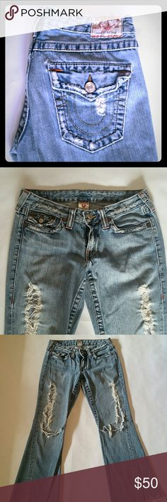 True Religion distressed jeans True Religion distressed jeans size 29. Joey boot cuts. Extremely distressed. Ripped open knees. Cut frayed bottom. Inseam to cut measures 30 inches. True Religion Jeans Boot Cut