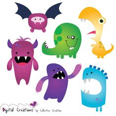 Little Monster Digital Clip Art Bright Colorful Silly Monsters - Ideal for Scrapbooking, Cardmaking Cupcake Toppers and Paper Crafts