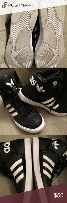 Adidas High Tops These are super cute and a style that will never fade out. Hard style to find. Worn twice and are just too big. I'd say these run 1/2 size larger than marked. adidas Shoes Athletic Shoes