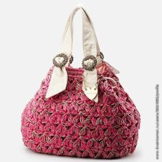 Crochet bag with fabric handles - looks like the same stitch used in the Jessica Simpson shawl - *Inspiration*