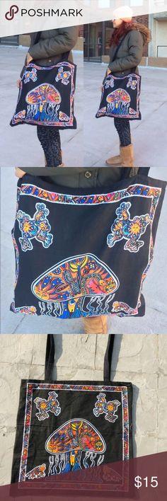 "Mushroom tote bag unisex cross body bag Mandala tote bag bohi gypsy bag festival bag.    Usage: beach bag, grocery, festival wear, boho look, picnic, hippy fashion multi use bag.    Size: 16.5""x16.5 Straps length: 20"" long  Materia;: 100%   Boho Gypsy Bohemian festival WearFestival Bohemian FashionHandmade Necklace tribal hippy hippie modern handbag women's bag men's bag Bags Totes"