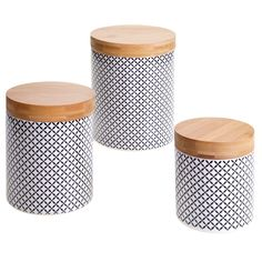 Certified International Chelsea Red Floral Lattice 3-piece Canister Set with Bamboo Lids (Red Floral Canisters) (Ceramic, Geometric)