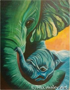 "Mother and child Elephants, 11x14"" on stretched canvas"