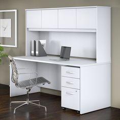 Studio C x Office Desk with Hutch and Mobile File Cabinet, White, Bush Business Furniture Office Desk With Hutch, Desk Hutch, Desk Office, Home Office Furniture, Furniture Deals, Business Furniture, Study Table Designs, Mobile File Cabinet, Home Office Design