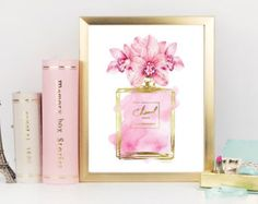 Perfume inspired fashion flowers pink Orchid watercolor with gold effect printed bedroom poster bathroom Art pink decor bathroom bedroom