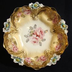 vintage white china with floral rim - Google Search