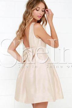 af4b3a347b5 Shop Apricot Braces Poplin Beige Sleeveless Backless With Bow Dress online.  SHEIN offers Apricot Braces Poplin Beige Sleeveless Backless With Bow Dress  ...