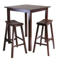 Parkland 3Pc Square High / Pub Table Set With 2 Saddle Seat Stools. Parkland 3Pc Square High / Pub Table Set With 2 Saddle Seat Stools
