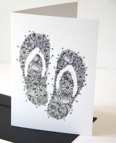 Kiwiana Jandals Gift Card | Felt Nz Art, Kiwiana, Beach Art, Art Activities, Colouring Pages, Book Art, Doodles, Greeting Cards, Felt