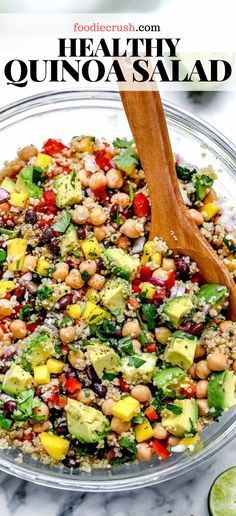 Bright flavor and bold bites are what make this healthy quinoa salad with chickpeas, black beans, mango and avocado in a lime dressing the perfect meal. Quinoa Recipes Easy, Healthy Salad Recipes, Veggie Recipes, Whole Food Recipes, Healthy Snacks, Quinoa Recipes Healthy Vegetarian, Meals With Quinoa, Recipes With Chickpeas, Healthy Vegetarian Dinner Recipes