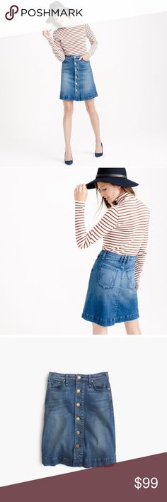 """J.Crew McGuire Columbier Denim Jean Skirt McGuire denim skirt SOLD OUT by J.Crew. McGuire is known for its updated approach to vintage denim, this LA-based label has gained quite the cult following—ourselves included. Our newest favorite? This button-front high-waisted mini skirt that's as polished as it is laid-back. This skirt sits above the knee and runs small. Fits more for a 10-12 Size with nice stretch. This skirt is 20"""" long. New condition.  Cotton/elastane Button closure Machine wash…"""