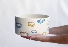 The largest piece of cream, the so called ''Gavatha'' a cylindrical form with so many uses, from placing your hand towels in the bathroom to a nice bowl for salad or placing your fruits as well . Large Bowl, Hand Towels, Ribbon, Mugs, Tableware, Awesome, Stuff To Buy, Etsy, Tape