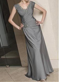 Elegant Floor length v-neck Satin Chiffon Mother of the Bride Dress in Fashion Design