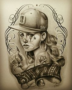 Chicano Art Tattoos, Chicano Drawings, Gangster Tattoos, Dark Art Drawings, Body Art Tattoos, Gangster Drawings, Skull Girl Tattoo, Girl Face Tattoo, Clown Tattoo