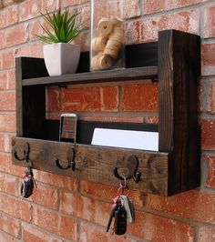 rustic entryway 3 hook mail organizer with shelf by keodecor