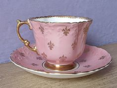 Antique pink tea cup and saucer 1930's Aynsley by ShoponSherman