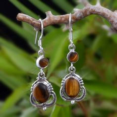 """925 SOLID STERLING SILVER YELLOW TIGER EYE EARRING 5.04g DJER3984 L-1.65""""…"""
