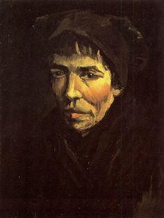 Head of a Peasant Woman with Dark Cap - Vincent van Gogh