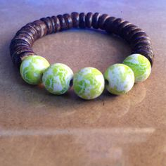 Peridot Green Acrylic and Brown Coconut Beaded Bracelet by CVioletJewelry