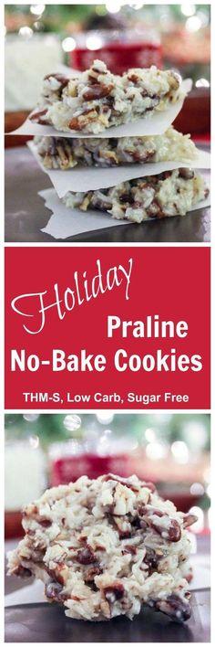 Holiday Praline No-Bake Cookies (THM-S, Low Carb, Sugar Free)