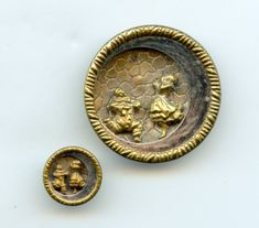 Pierrot and Pierrette theatre buttons antique brass buttons..available at Pegs ecrater