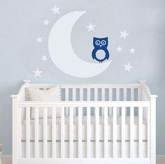 Moon and Stars OWL Nursery Wall Decal Decor by VinylWallArtworks