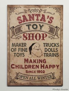Vintage SANTAS TOY SHOP sign Primitive Country Christmas Winter home wall decor in Home & Garden | eBay