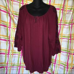 3X Embroidered French Laundry Blouse Purple/maroon blouse with gathered neck and elastic banded waist. Sleeves are embroidered with a beautiful black pattern. 3x. Gently used in excellent condition. Smoke and pet free home. French Laundry Tops Blouses