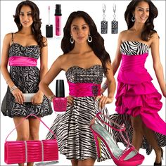 Pink And Zebra Print Prom Dress Fashion | #polyvore