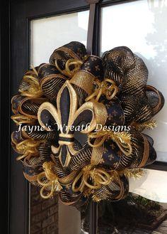 New Orleans Saints wreath with Fleur de Lis  Jayne's Wreath Designs on fb