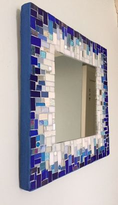 15 inch square mosaic mirror, ready to hang. The colors are gradual from white to cobalt blue. Some glass has been fired in the kiln to give it a softer look,. The edges are blue grout. Glass and mirror is reclaimed. The back is painted wood. Mosaic Tile Art, Mosaic Artwork, Mirror Mosaic, Mosaic Crafts, Mosaic Projects, Diy Mirror, Mosaic Glass, Mirror Painting, Mural Wall Art