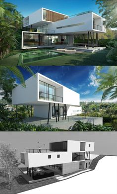 MODELO CASA TRÊS Modern Architecture House, Residential Architecture, Architecture Design, Modern Villa Design, Futuristic Home, Luxury Homes Dream Houses, Modern Mansion, Dream House Exterior, Architect House