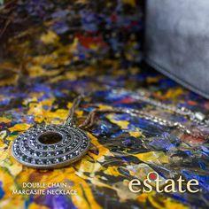 Estate West Grand - Double Chain Marcasite Necklace