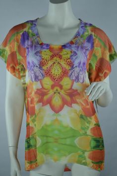 JM Collection Pull Over Knit Top Mirrored Tulips Scoop Neck Orange Size Medium  #JMCollection #KnitTop