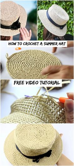 Crochet accessories 466896686369561434 - How To Crochet A Summer Hat – Crochetopedia Source by namastbientre Crochet Summer Hats, Crochet Diy, Crochet Crafts, Doilies Crochet, Sombrero A Crochet, Crochet Beanie, Crochet Socks, Crotchet, Easy Knitting Projects