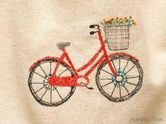 Sketchy Retro Bicycle Dishtowel | Flamingo Toes