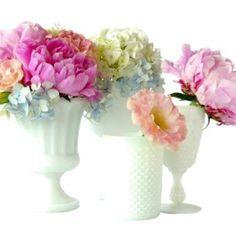 Vintage milk glass & flowers